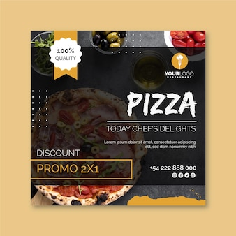 Kwadraat flyer-sjabloon voor pizzarestaurant