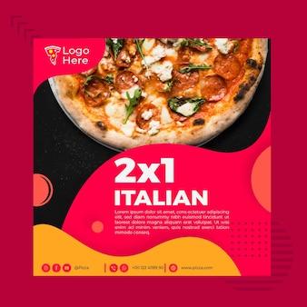 Kwadraat flyer sjabloon voor pizzeria