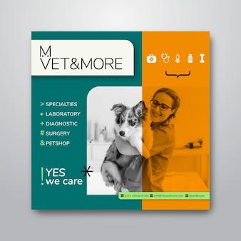 Kwadraat flyer sjabloon voor veterinaire zaken