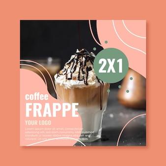 Kwadraat flyer voor coffeeshop