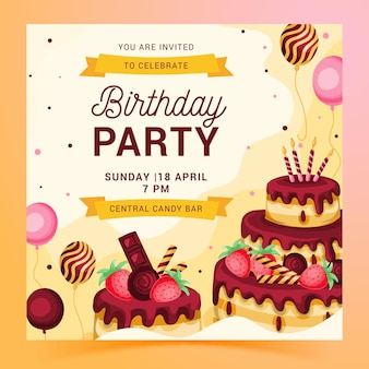 Kwadraat sjabloon folder voor verjaardagsfeestje