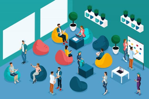 Kwalitatieve isometrie, karakters in het coworking center, werkcommunicatie worden getraind. reclameconcept freelancen en vrij werkschema in creatief