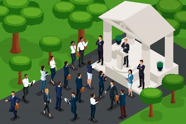Kwalitatieve isometrie, personages in het park tijdens een presidentskandidaatsrally. spelconcept en voor reclamepresentaties