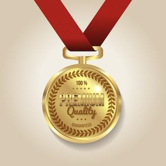 Kwaliteit gegarandeerd medaille illustratie
