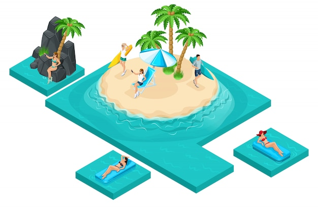 Kwaliteit isometrie, het concept van recreatie voor jongeren op het eiland. surfen, reizen, selfie, freelance, werken op afstand. creëer uw advertentieconcept
