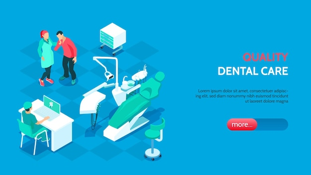 Kwaliteit tandheelkunde concept met moderne tandheelkundige apparatuur illustratie