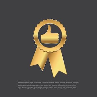 Kwaliteits gouden badge. duimen omhoog