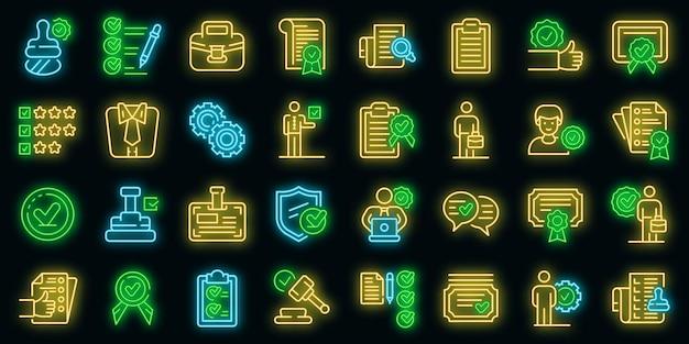 Kwaliteitsborging pictogrammen instellen. overzicht set van kwaliteitsborging vector iconen neon kleur op zwart