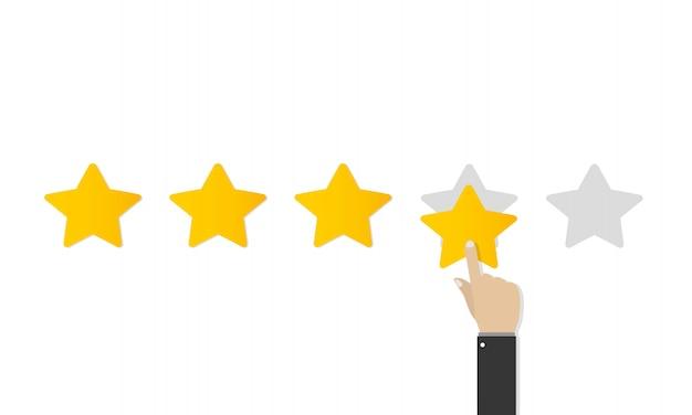 Kwaliteitsclassificatie in plat ontwerp. klantbeoordeling, prestatiepercentage, positieve beoordeling. positief feedbackconcept. zakelijke hand geven vijf sterren waardering. illustratie.