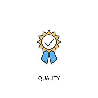 Kwaliteitsconcept 2 gekleurde lijn icoon. eenvoudige gele en blauwe elementenillustratie. kwaliteit concept schets symbool ontwerp