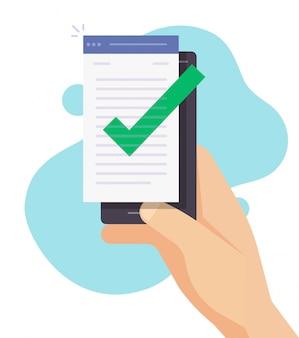 Kwaliteitscontrole van het schrijven van tekst of het maken van een vinkje op smartphone van een mobiele telefoon