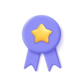 Kwaliteitsgarantie lint icoon met ster. premium kwaliteitslabel. 3d illustratie.