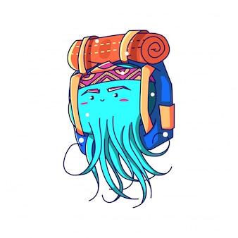 Kwallen backpacker illustratie karakter ontwerp vector