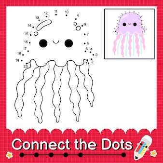 Kwallen kinderpuzzel verbind de stippen werkblad voor kinderen die getallen 1 tot 20 tellen
