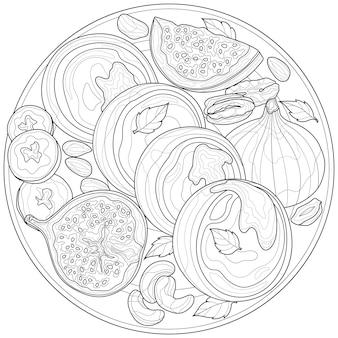 Kwarkpannenkoekjes met vijgen, banaan en noten. kleurboek anti-stressprogramma voor kinderen en volwassenen. illustratie geïsoleerd op een witte achtergrond. zen-wirwar stijl. zwart-wit tekening