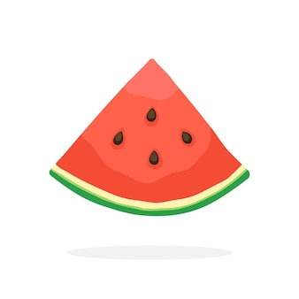 Kwart watermeloen gezond vegetarisch eten vectorillustratie in vlakke stijl