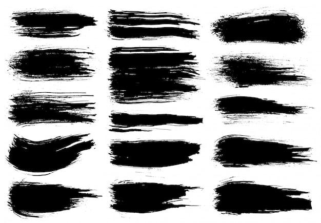 Kwast. zwarte inkt grunge penseelstreken ingesteld