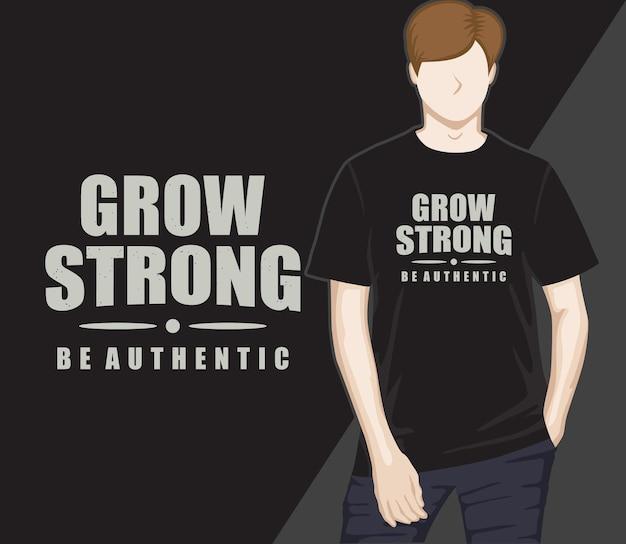 Kweek sterk typografie t-shirtontwerp
