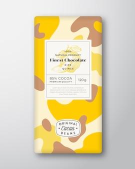 Kweepeer chocolade label abstracte vormen vector verpakking ontwerp lay-out met realistische schaduwen moderne...
