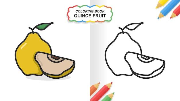 Kweepeer fruit hand getekend kleurboek om te leren. egale kleur klaar om af te drukken