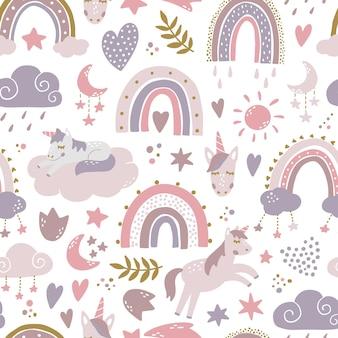 Kwekerij naadloos patroon met regenbogen en eenhoorn
