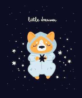 Kwekerij print met schattige hond. corgi-puppy slaperig. kinderachtige print met schattige baby dieren
