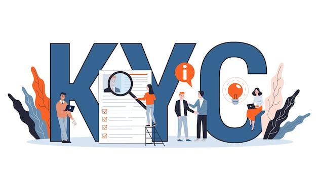 Kyc of ken uw klantconcept. idee van bedrijfsidentificatie en financiële veiligheid. cybercriminaliteit. illustratie in cartoon-stijl