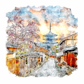 Kyoto japan dorp aquarel schets hand getekende illustratie