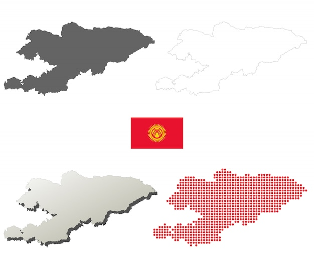 Kyrgyzstan vector overzicht kaart set