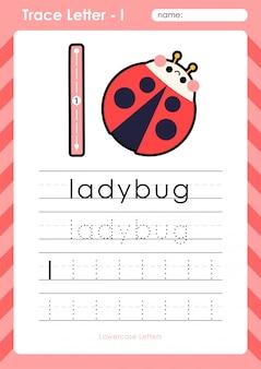 L lieveheersbeestje: alfabet az tracing letters werkblad - oefeningen voor kinderen