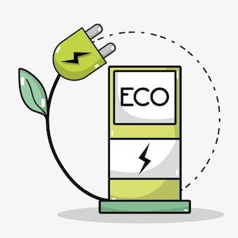 Laad energie station op naar de batterij van de auto