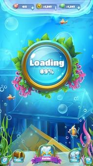 Laadscherm en menu voor onderzeese spellen
