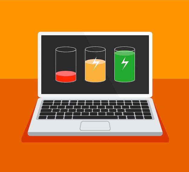 Laag batterijconcept. ontladen en volledig opgeladen laptop.
