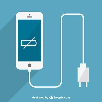 Laag beslag smartphone opladen vector