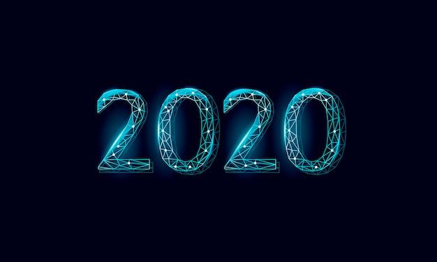 Laag poly 3d 2020 datum nummer wenskaart. Premium Vector
