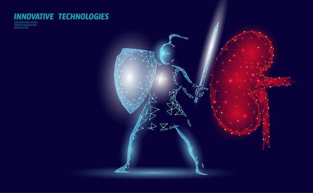 Laag poly 3d menselijk nierschild beschermen. geneeskunde herstel technologie drug geneeskunde concept. illustratie.