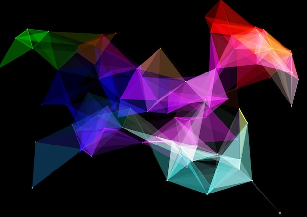 Laag poly abstracte achtergrond met verbindingslijnen en stippen ontwerp