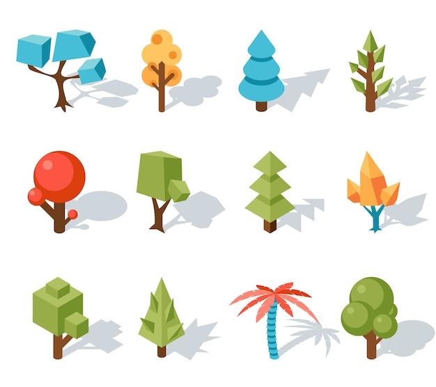 Laag poly boom-iconen, vector isometrische 3d. bos en blad, palm en stam, kleurrijk gebladerte, tropische bloemen