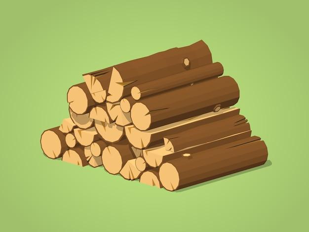 Laag poly brandhout gestapeld in stapels