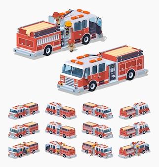 Laag poly brandweerwagen