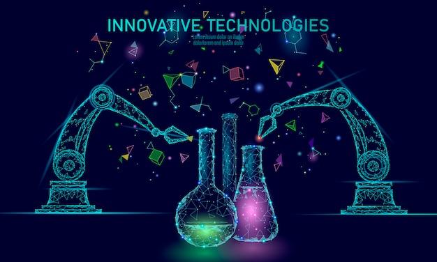 Laag poly chemische synthese wetenschap concept. polygon lab chemie materiaalproductie reactor. moderne innovatie samengestelde technologie product laboratorium robot ai illustratie