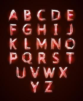 Laag poly cristal alfabet lettertype.
