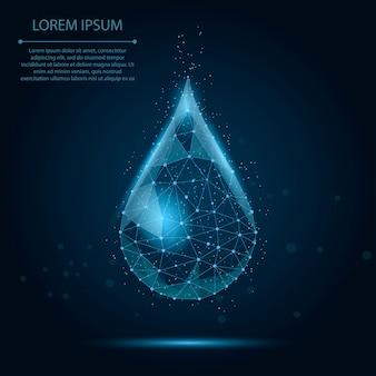 Laag poly draadframe waterdruppel met stippen en sterren. vers water of vloeibaar, eco-natuur