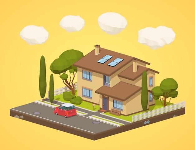 Laag poly huis in de voorsteden