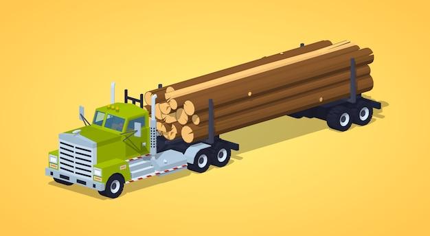 Laag poly log vrachtwagen