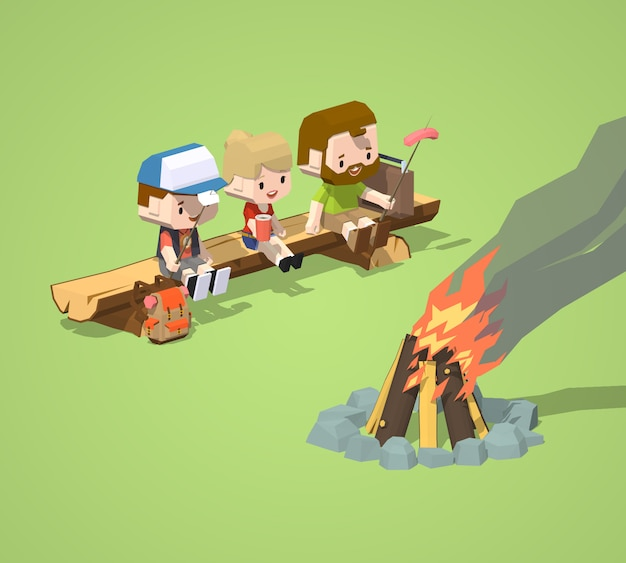 Laag poly ruwe houten bank en het kampvuur
