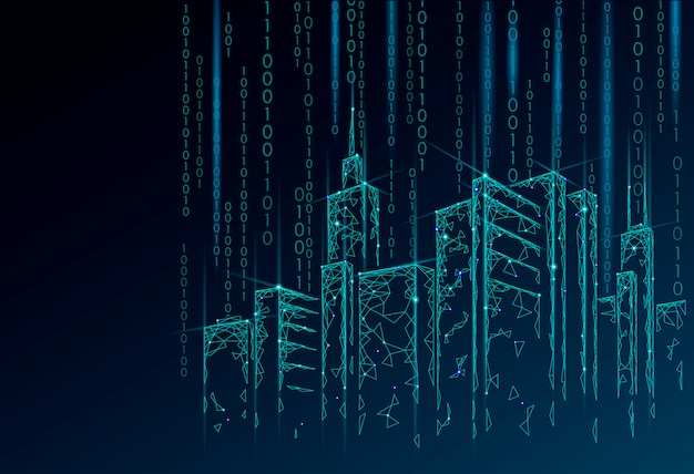 Laag poly smart city 3d gaas. intelligent gebouwautomatiseringssysteem bedrijfsconcept. gegevensstroom binair codenummer. architectuur stedelijke stadsgezicht technologie schets illustratie