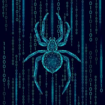 Laag poly spider hacker aanval gevaar. webbeveiliging virus gegevens veiligheid antivirus concept. veelhoekige moderne ontwerp bedrijfsconcept. cybercriminaliteit web insect bug technologie illustratie