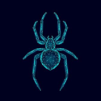 Laag poly spin gevaarlijke spinachtige. webbeveiliging virus gegevens veiligheid antivirus concept. veelhoekige moderne blauwe gloeiende ontwerp bedrijfsconcept. cybercriminaliteit web insect technologie illustratie