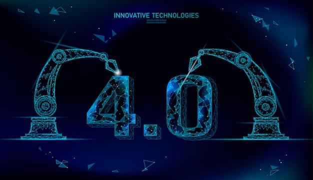 Laag poly toekomstig industrieel revolutieconcept. industrie 4.0-nummer geassembleerd door robotarm. beheer van online technologie-industrie. 3d veelhoekige innovatie systeem illustratie